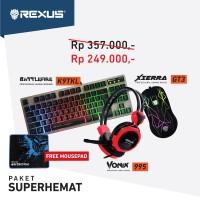 Paket Super Hemat Rexus Keyboard Gaming K9TKL, Mouse GT3 & Headset 995