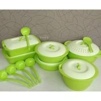 Emerald wadah saji set tempat lauk pauk set sendok sayur