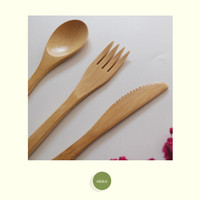 Bamboo Cutlery Set (Alat Makan Sendok Garpu Pisau Bambu)