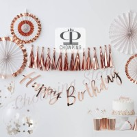 Banner Flag HBD LATIN / Bunting Flag Happy Birthday LATIN ROSE-GOLD