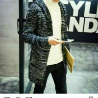 Blazer Sweater Rajut Pria Grey Hoodie 100% Cotton