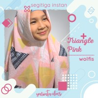 Jilbab Hijab Kerudung Segitiga Instan Wolfis Triangle Pink Warna Putih