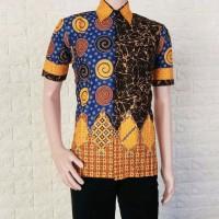 Kemeja Batik Sogan Spiral Rainbow warna Kuning Special Edition