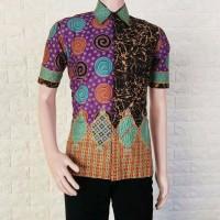 Kemeja Batik Sogan Spiral Rainbow warna Tosca Special Edition