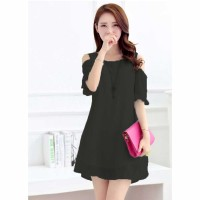 Jfashion Dress Sifon Tangan 3/4 open shoulder Gaya Korea - Beauty