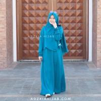 Hijab Syar'i Adzkia, Gamis Manisqu set (Biru Tosca)