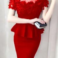 stelan impor 1819 merah/blouse katun strect/rok span/stelan dress