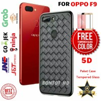 PAKET CASE CASING + TEMPERED GLASS 5D FULL LEM LAYAR HP OPPO F9 F 9