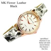 T2105 jam tangan wanita kulit mk flower diamond hitam full set