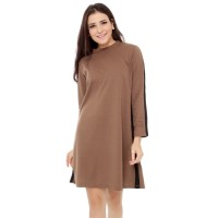 Yoenik Apparel Simply Line Dress Mocca M13438 R37S3
