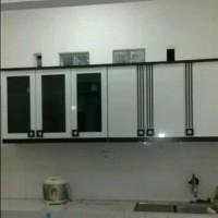 Kitchen set atas / lemari sayur 3 pintu kaca plus 3 pintu panel
