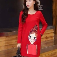 DRESS TUNIK SCUBA PRINTING LONG SLEEVE