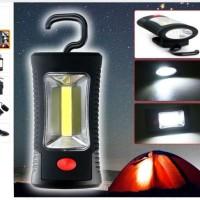 Senter / Lampu LED COB + 3 LED Lampu Emergency + + Magnet + Gantung