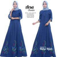 Arsa gamis dress longdress jeans bordir jumbo ld 120 xxxl