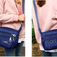 Women Fashion Solid Color Zipper Nylon Shoulder Crossbody Bag