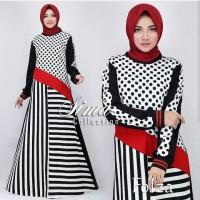 Folza dress by sima gamis polka hitam putih casual simple modern trend