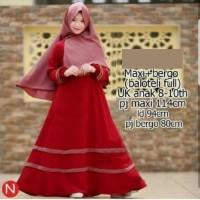 5215 gamis anak baju muslim anak merah simple polos jilbab ins Elegan
