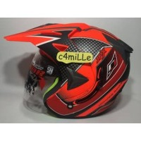 helm berkwalitas HELM JPX SUPERMOTO ADVANCE RACING RED FLUO DOFF DOUBL