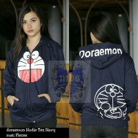 Jaket Wanita Doraemon Text Navy (sweater, jumper, hoodie, jeket)