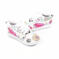 26-30 Sepatu anak perempuan sneakers putih pink sepatu kets