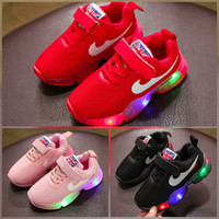 Sepatu anak lampu LED sz 21-25 sepatu sekolah anak cowok cewek flag ce