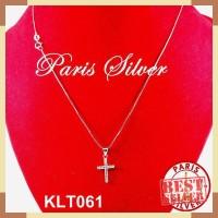 Kalung Salib Italy Itali Silver Perak 925 lapis emas putih wanita