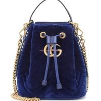 GUCCI GG MARMONT BLUE VELVET BUCKET BAG ORIGINAL   GUCCI BAG ORIGINAL
