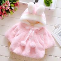 Jaket Bulu Import Anak Bayi Perempuan Pompom Hoodie Telinga