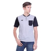 Baju Kaos Pria / T Shirt Kaos Kancing Saku S-M-L-XL Abu HRCN GAE35