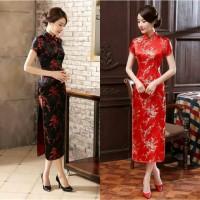 ReStock Qipao Long Dress Bunga Sakura Hitam Merah