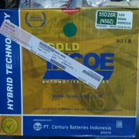 aki mobil merk incoe gold type N50Z 12volt - 60amper khusus go send