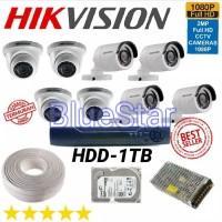 Paket CCTV Hikvision 8 Channel Full HD 2 MP HDD-1 TB Siap Pasang