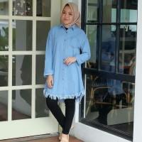 baju gamis wanita terbaru Dela Tunik Jeans baju atasan wanita muslim