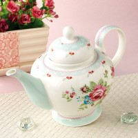 Tempat Minum Tempat Teh Teko Stand Alone Tea Pot Scalloped Rose DISKON