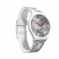 jam tangan swatch unisex Gw180 strap karet pixel grey putih abu ori
