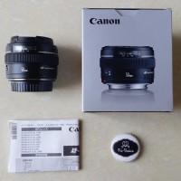 Lensa Fix Bokeh Canon 50 mm f1.4 EF 50mm f/1.4 USM Like New Box Silver