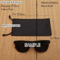 Softcase kacamata Nylon Bag Tempat Kacamata Pouch kacamata Case Hitam