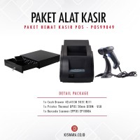 PAKET PRINTER QPOS Q58M + SCANNER EP1808A + CASH DRAWER 42x41cm
