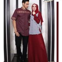 Busana Muslim Couple ELFA Ethica 15 Maroon Gamis size S