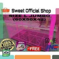 KANDANG BESI LIPAT SIZE L (60X50X42) Original U/ Kucing / Kelinci /