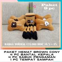 BANTAL MOBIL PAKET HEMAT 9 PC KARAKTER BROW CONY (DISCOUNT 10% +5%