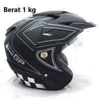 Helm 2kaca MOTOGP BXP black doff abu setara SHOEI KYT INK NHK GM