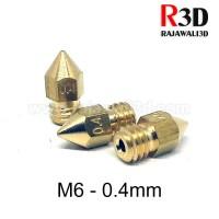3D Printer Nozzle Kecil M6 0.4mm / 1.75mm