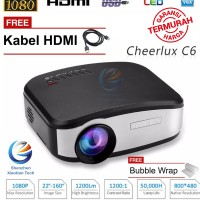 New Mini Proyektor Cheerlux C6 LED Projector C6 1200 Lumens + TV Tuner