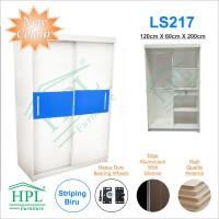 Lemari Pakaian Sliding Door 2 Pintu HPL - White Glossy strip