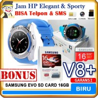Smartwatch V8 BIRU Bonus SD Card - Jam HP Smart Watch DZ11 MMC Card