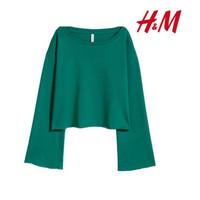 Sweater Wanita Original H&M Crop Top Sweatshirt Green XTT13489