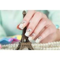 wedding fake nail flower rhinestone 3d kuku palsu pernikahan diamond