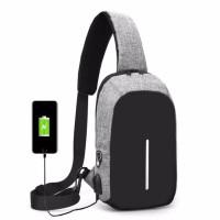 TAS SELEMPANG PRIA IMPORT /TAS SLEMPANG/SLING BAG dgn USB charger port