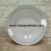 Sale Piring Makan keramik Sango 9inchi lis emas perlusin Putih ru